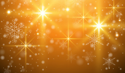 Christmas background with snowflakes and magical lights