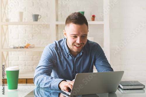 Caucasian man working on project