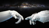 two near touching hands in space suits, Michelangelo touch pose with Milky Way galaxy - 181235338
