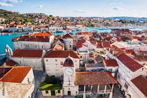 Fototapeta Trogir town, Croatia. Panoramic view, famous Croatian tourist destination. Dalmatian coast