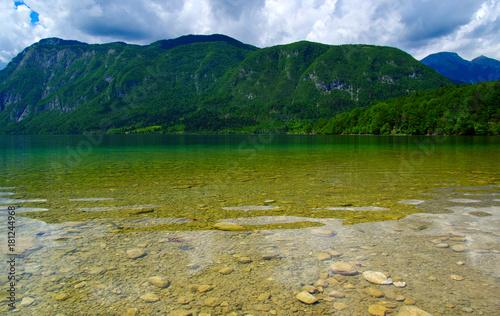 Mountain lake on sky