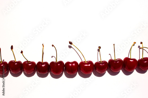 Fotobehang Kersen Cherry. Cherries in white bowl. Cherry on white background.