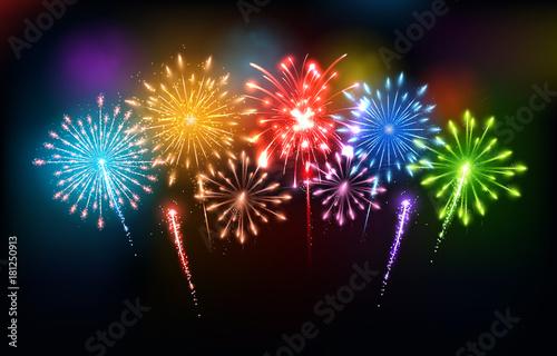 Fototapeta Colorful fireworks - Happy New Year