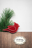 Merry christmas / Сreative concept photo of christmas tree and bird with sign on brown grey background. - 181255138