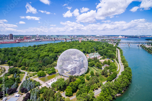 Keuken foto achterwand Canada Aerial view of Montreal cityscape including Biosphere and St Lawrence river in Montreal, Quebec, Canada.