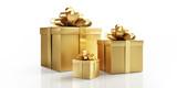 Goldene Geschenkpakete und Päckchen - 181257718
