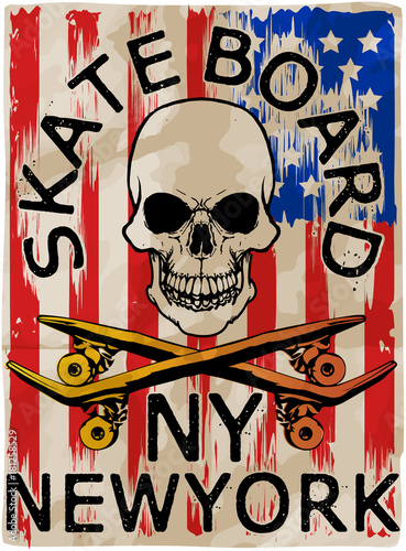Fotobehang Skateboard Skate board typography; t-shirt graphics