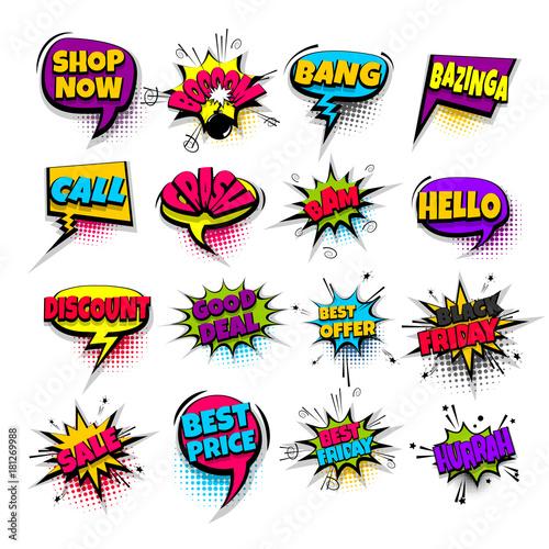 Papiers peints Pop Art sale, bang, boom, price, offer set lettering. Comics book balloon. Bubble icon speech pop art phrase. Cartoon font label tag expression. Comic text sound. Vector illustration.