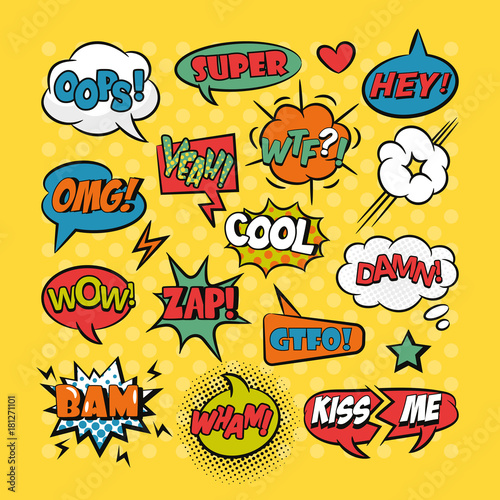 Aluminium Pop Art Comic speech bubbles pop art set
