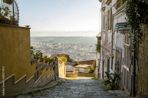 Foto op Canvas Napels Beautiful old street in Naples, Italy