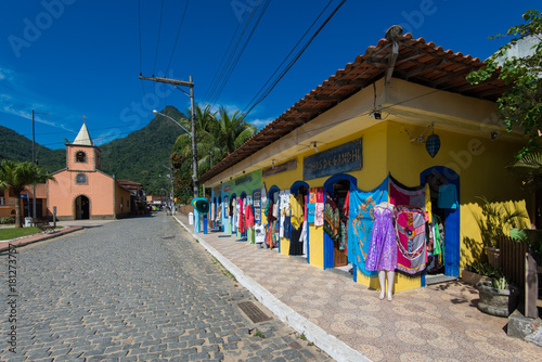 Fotobehang Rio de Janeiro Small church and handcraft shop in the beautiful island near Rio de Janeiro city
