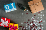 December 1st. Image 1 day of december month, calendar at christmas and new year background with gifts - 181278557