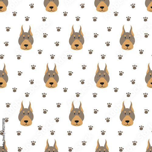 Deurstickers Babykamer Seamless pattern with cartoon dogs on the white background.