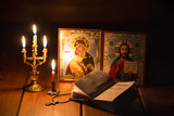burning candle in a dark room, orthodox - 181279757