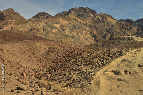 Rocky mountains and hills of colorful earth minerals and oxides at Artist's Palette in Death Valley National Park