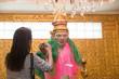 Asian women make a merit with Natbobo Gyi in Botahtaung pagoda of Yangon.