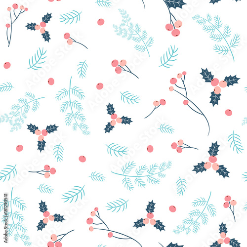 Materiał do szycia Simple and stylish vector seamless pattern with pine branches and holly in pink and blue colors for Christmas and winter designs and fabric