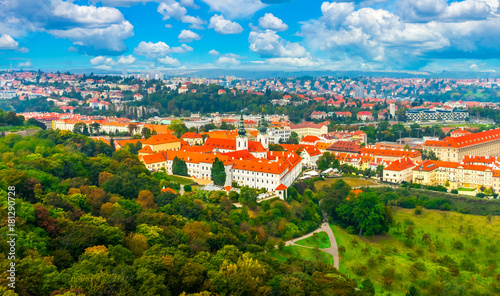 Staande foto Praag View of the Strahov Monastery from the top of the Petrin Gardens in the Czech Republic in Prague
