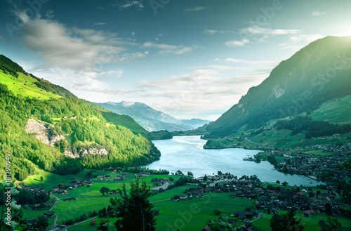 In de dag Pool Aerial view on Lungernsee lake, Switzerland, Europe