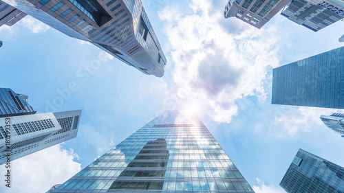 Fototapeta sky and exterior glass wall modern buildings