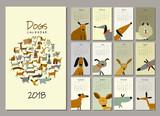 Funny dogs, calendar 2018 design - 181299763
