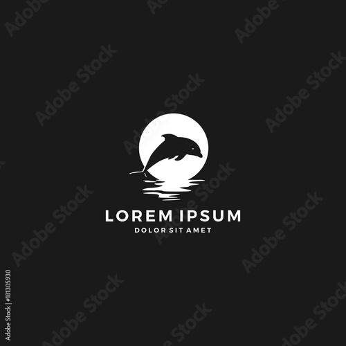 Fototapeta dolphin moon bay beach sea logo