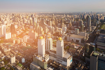 Office building business area aerial view, Bangkok skyline, cityscape background
