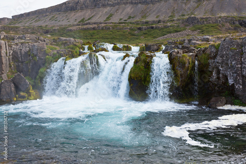 Summer Iceland Landscape with a Waterfall - 181314732