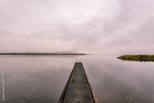 Plexiglas Pier Pier on Lake Brunner, Moana, West Coast, New Zealand