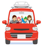 Family riding the car -winter, front view