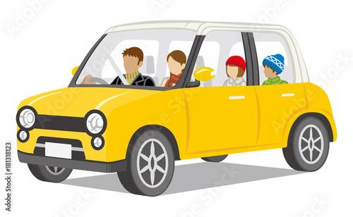 Family riding the car -Winter Clothes