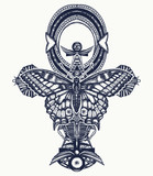 Ankh and butterfly tattoo and t-shirt design, ancient egyptian cross t-shirt design. Decorative ethnic style of Ancient Egypt. Ankh symbol of eternal life tattoo, key to immortality