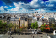 Square of Georges Pompidou and cityscape of Paris France, retro toned
