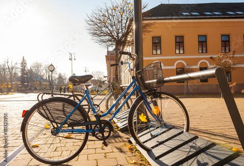 Tuinposter Fiets Balassagyarmat, Pest / Hungary - November 15 2017: street, park, city hall in autumn, daylight town everyday life
