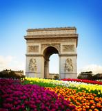 Arc de triomphe at spring day, Paris, France, retro toned