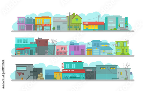 Poster City long street. Set of architecture town buildings. Flat vector graphics. A lot of various details happy bright flat vector