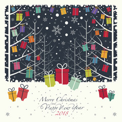 The colors Christmas gifts hanging on branches in the forest. On the snow there colors gift boxes. The phrase merry Christmas and happy new year and numbers 2,0,1,8