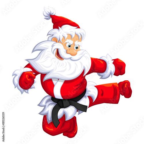 Santa Claus jumping kick in Martial arts and Kickboxing. Vector EPS-10