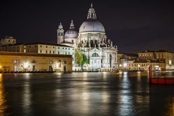 Basilica di santa maria della salute at night in venice 2