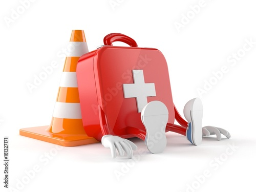 First aid kit character with traffic cone