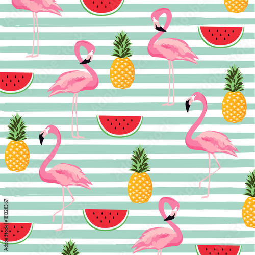 Materiał do szycia Pineapple, watermelon and flamingo with stripes seamless pattern background. Cute poster design. Wallpaper, invitation card, textile print vector illustration design