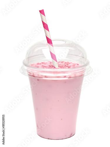 Foto op Plexiglas Milkshake Strawberry milkshake in take away cup isolated on white background