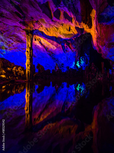 Plexiglas Guilin Reed flute cave in Guilin, Guangxi. China.