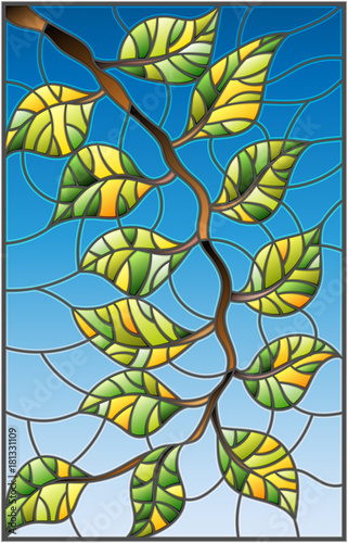 illustration-in-stained-glass-style-plant-branch-with-leaves-on-a-sky-background