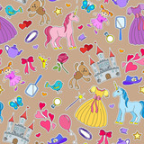 Seamless pattern on the theme of Hobbies baby girls and toys ,patch icons on brown background