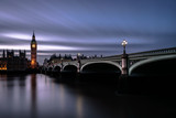 Westminster Bridge and Big Ben at night. Houses of Parliament at dusk. Long exposure - 181331516
