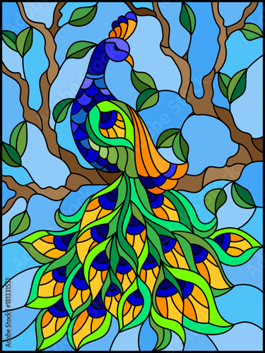 illustration-in-stained-glass-style-bird-peacock-and-tree-branches-on-background-of-blue-sky