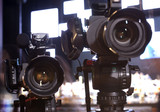 Television broadcast from the theater. Professional digital video camera. - 181332101