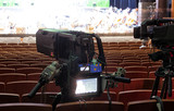 Television broadcast from the theater. Professional digital video camera. - 181332103