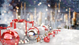 Red and white christmas gifts and baubles lined up 3D rendering - 181332393